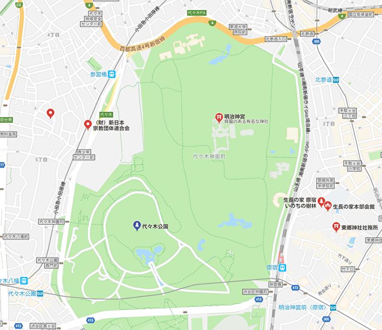 代々木公園と生長の家本部会館、生長の家原宿いのちの樹林との位置関係